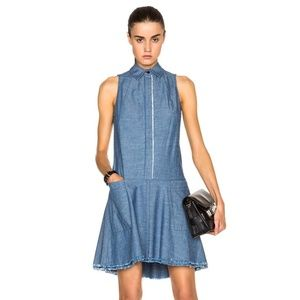 Proenza Schouler Collared Chambray Flared Dress